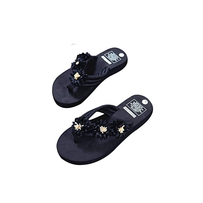 8d97baf233e54 huskspo Fashion Women Flower Anti-Skidding Flat Heel Sandals Slipper Beach  Shoes Black