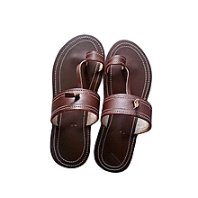 2ec0fe947616e5 Elegant African men Leather Open sandals -Brown