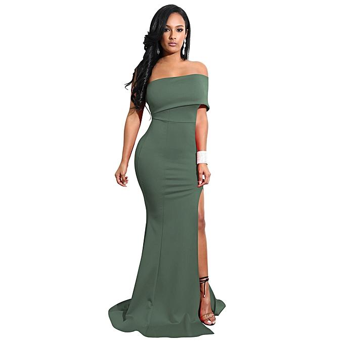 3ab72334ed0 Elegant Women Mermaid Maxi Dress Off the Shoulder High Split Solid Slim  Bodycon Cocktail Party Long