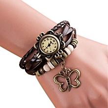 Quartz Weave Around Leather Butterfly Bracelet Lady Woman Wrist Watch BW