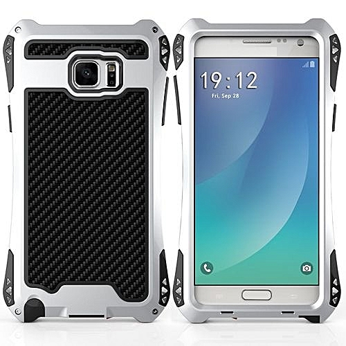 online store fb5ec 1207f R-JUST New Waterproof Shockproof Carbon Fiber Gorilla TemperedGlass  Aluminum Metal Armor Case Cover For Samsung Galaxy Note 5(Silver)