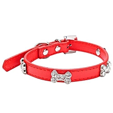 Dog Collar Bling Crystal With Bone Necklace Pet Puppy Cat RD/M