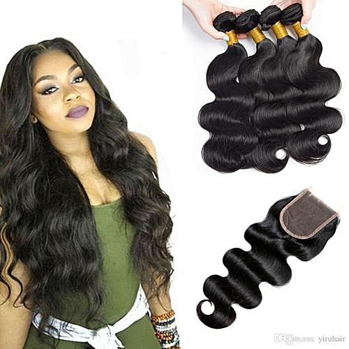 4*4 Peruvian Virgin Human Hair Lace Closure: Body wave: No.1B