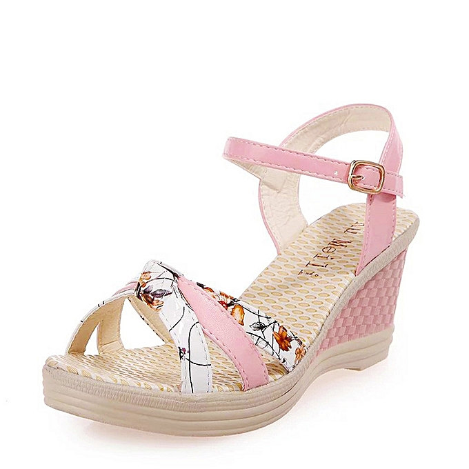 1939a2c22c8 Fohting Ladies Women Wedges Shoes Summer Sandals Platform Toe High-Heeled  Shoes -Pink