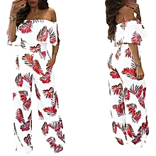 Refined Women's Fashion Jumpsuit Refined Style Printed Flounce Casual Jumpsuit-red