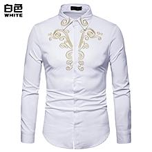 Men Shirt Fashion Long Sleeve Shirt New Palace Style Embroidery Slim Fit Male Shirts Turn-Down Collar Shirt Casual Shirt- white