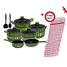 Non Stick Cooking Pot Set - 12 Pieces - Green & Silver (+ Free Gift Hand Towel).