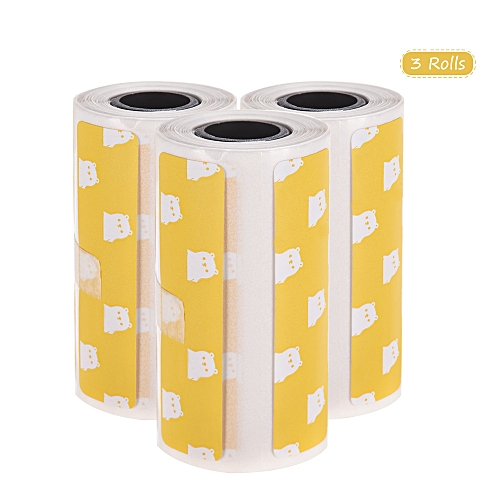 Cute Cartoon Direct Thermal Labels Roll 57*30mm(2 17*1 18in) Strong  Adhesive Sticker Clear Printing for PeriPage A6 Pocket BT Thermal Printer,  3 Rolls