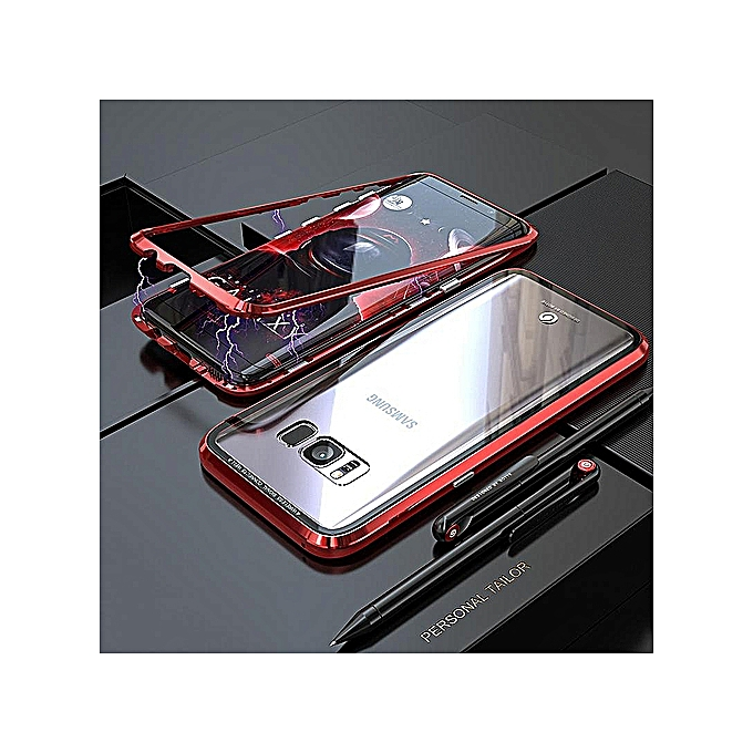 size 40 b129a 54c8e Built-in Magnet Case For Samsung Galaxy S8 Plus / S8+ / S8Plus Clear  Tempered Glass Magnetic Adsorption Case Metal Ultra Cover Bumper Mobile ...