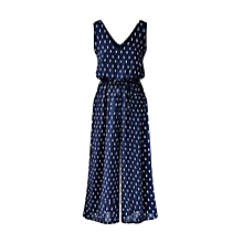 Casual Women Cotton Polka Dot Baggy Wide Leg Jumpsuit
