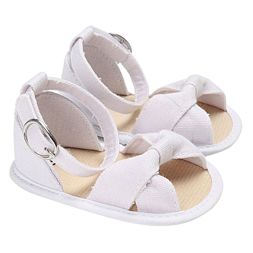 Neworldline Baby Sandals Infant Kids Girl Soft Sole Crib Toddler Newborn  Shoes-White