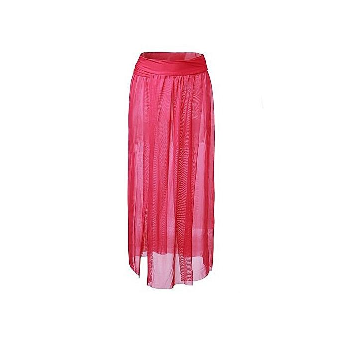 68ad7fa1a1fd2 ... Sexy Women Beach Dress Bikini Cover Up Chiffon Swimwear Long Sarong Wrap  Pareo Rose Red
