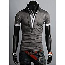 Grace Men Korean Style Dark Gray Cotton Short Sleeves Polo Shirt-gray