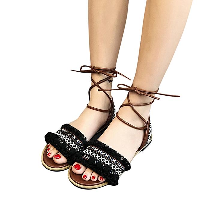 074ca2a01b56 koaisd Summer Ladies Women Sandals Cross Strap Flat Roman Sandals Casual  Beach Shoes-Black