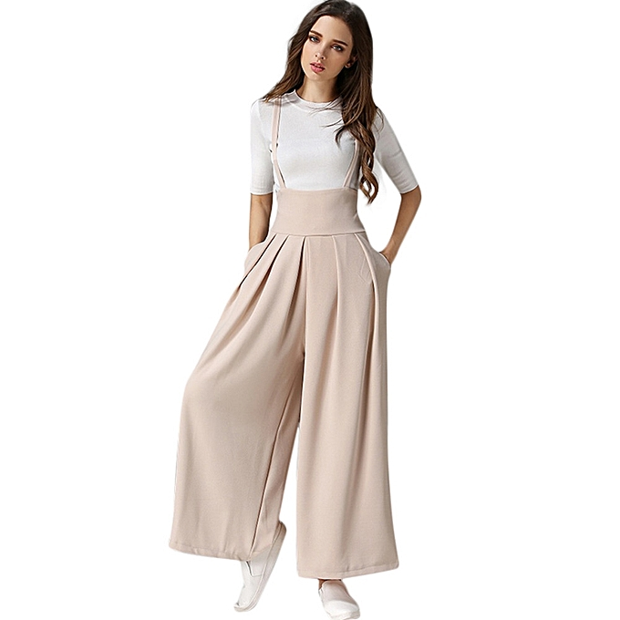 0f7410a173e Women Casual Pleated High Waisted Wide Leg Palazzo Pants Suspenders Trousers