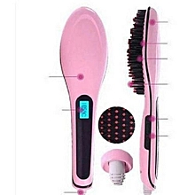 Hair Straighter  -Hair Comb Brush -Pink/Black