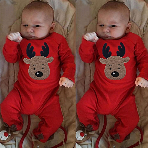 675eea61bf4 MUYI Newborn Kid Baby Girl Boy Christmas Clothes Deer Romper Jumpsuit  Pajamas Outfits