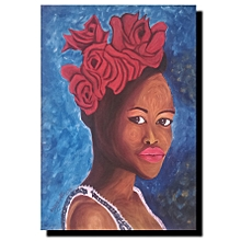 African beauty wall painting - 55by 78cms - multicolored