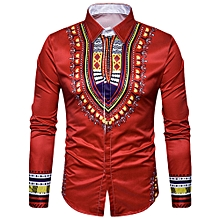 Long Sleeve Shirt Men 3D Printing Slim Fit Turn-down Collar Casual Male Clothing - Red