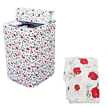 2pcs Waterproof Washing Machine Zippered Top Dust Cover Protection Top /Front Cover Red Flower