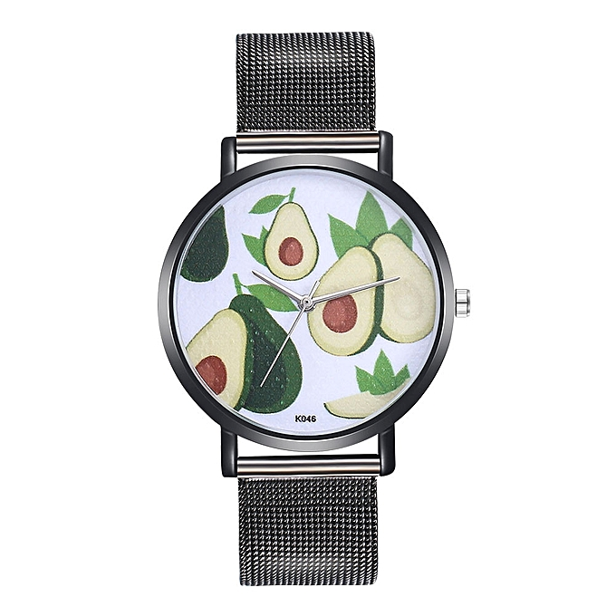 ad6e640dd03 Generic Watch Woman Fashion Avocado Pattern Alloy Steel Strap Analog Quartz  Round Watch-Black