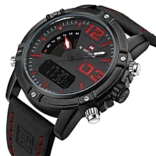 new luxury brand men leather military watches mens quartz analog led digital sport wrist watch relogio masculino