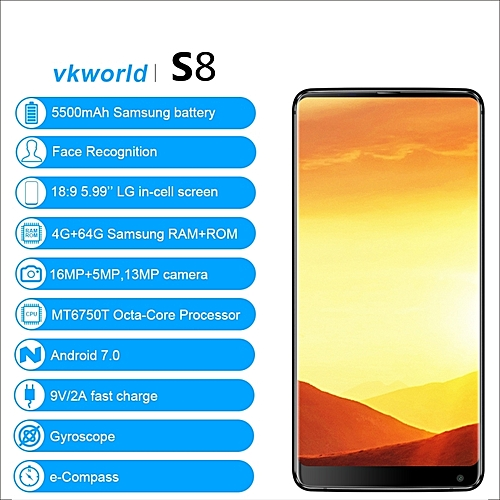 c182ed4fbf3 Vkworld S8 5.99  18 9 Full Screen Android 7.0MTK6750T 4GB+64GB 16.0MP Face  Recognition 5500mAh Mobile Phone