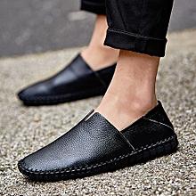 Men Leather Loafer Flats Comfy Slip-On Driving Shoes-Black