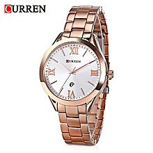 9007 Rose Gold Quartz Women's Watch With Calendar Simple Dial