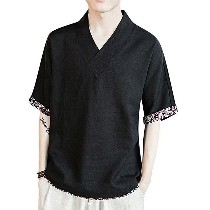 Summer Mens Linen Loose T-shirts V-neck Print Leisure Half Sleeve Youth  Vintage 98f7aee7bd