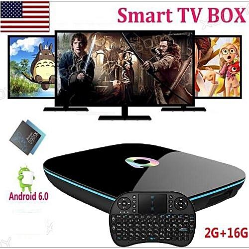 Best Sale Q Box Android 6 0 TV Box Amlogic S905X Quad Core 2GB/16GB Qbox  Dual WIFI BT4 0 Smart Media Player+ Free Keyboard (Color: Black)