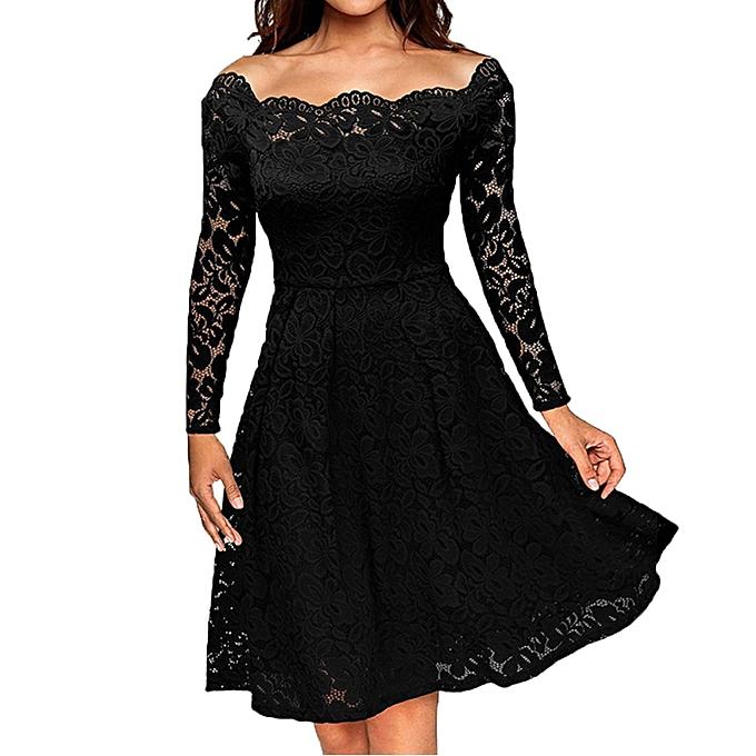 7687ddfb559b Women Vintage Off Shoulder Lace Formal Evening Party Dress Long Sleeve Dress  Off Shoulder Lady Dress