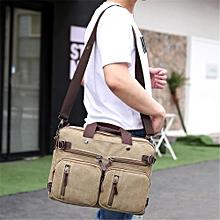 Canvas Convertible Backpack Briefcase Multi-Pocket Laptop Messenger Shoulder Bag Khaki