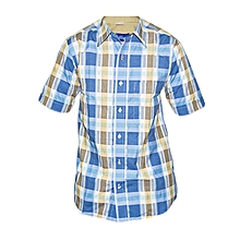 Blue Multicolored checked Slim fit Collier Shirt