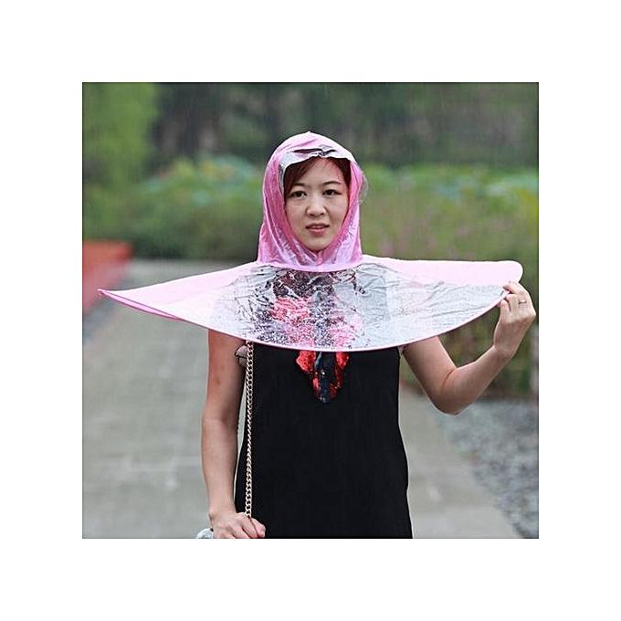d33ed4b48bf0b Umbrella Raincoat Women Children Free Hand Rainwear Transparent Foldable Hat  Cap