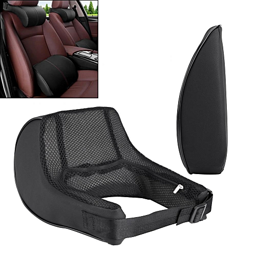 New Product 2pcs Universal PU Leather Memory Foam Car Seat Cushion Lumbar Support Neck