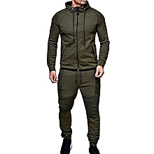 764eb9df6b Men's Outdoor Sports Casual Solid Color Cardigan Top and pants-green