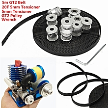 8Pcs GT2 20T Bore 5mm Width Timing Pulley+ 5m Belt + 2*Tensioner For 3D Printer