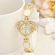 Loving Heart Surface Silicone Crystal Diamond Dress Women Watches Relojes Mujer Ladies Hour Fashion Quartz(White)