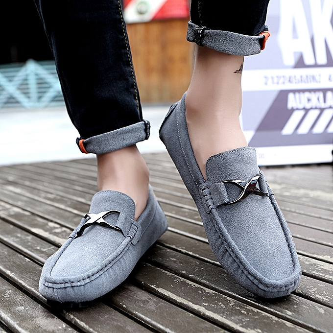 1ba496a16dc ... Mens Slip On Loafers Suede Driving Penny Loafer Moccasins Dress Flats  Boat Shoes Grey