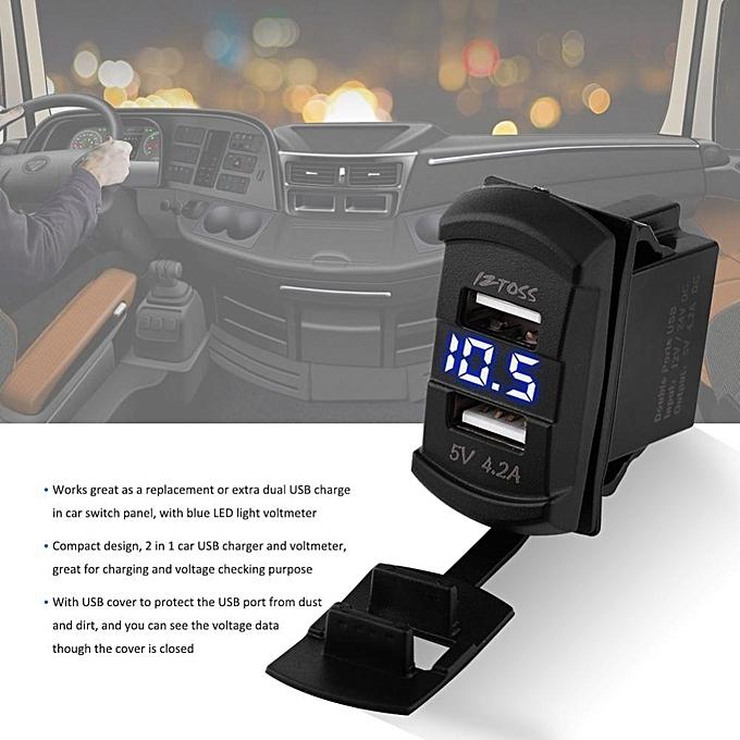 ... 12V Dual Port USB Charger Socket Voltage Tester Voltmeter With Wires For Car Motorcycle Boat ...