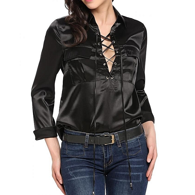 Buy ZEAGOO Fashion Lace Up Turn Down Collar Long Sleeve ...