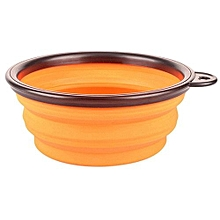 Silicone Travel Dog Bowl Collapsible Premium Quality Food Water Pet Travel Bowl Orange (Intl)