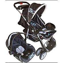 Superior 3 in 1 Baby Stroller Set - Black & Grey