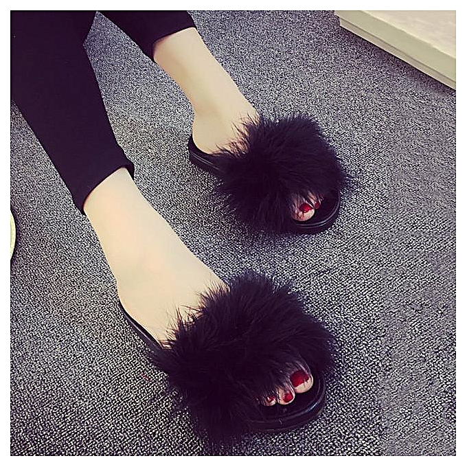d4fd7ed23397 Women s Fur Fluffy Slippers Slides Mules Sandals Feather Home Open Toe  Shoes black