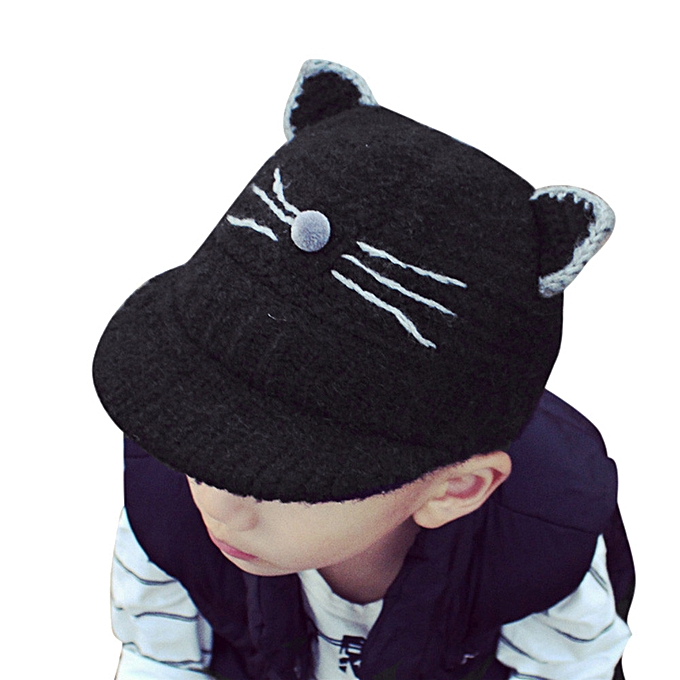 f568494ad63 Baby Toddler Kids Boy Girl Cat Knitted Crochet Beanie Winter Warm Hat Cap -Black