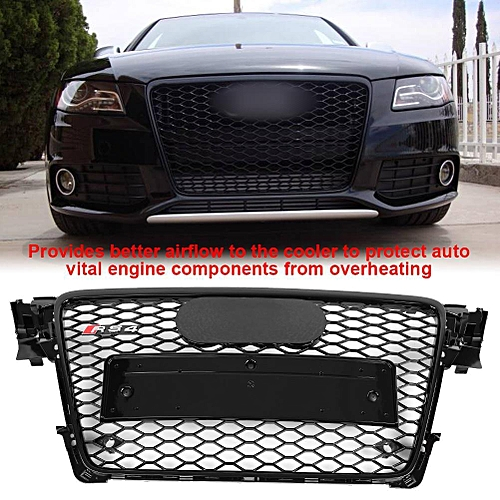 Rs4 Style Front Sport Hex Mesh Honeycomb Hood Grill Gloss Black For Audi A4 S4 B8 09 12