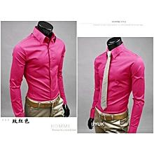 Jeansian Mens Dress Casual Shirt Slim Business Uniform-rosepink