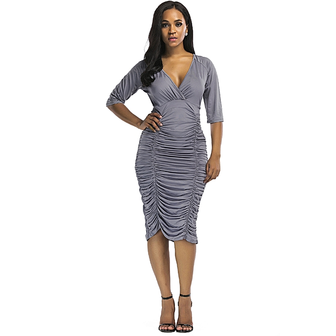 5a82cb15345 Sexy Women Ruched Bodycon Dress Deep V Neck High Waist Slim Party Club Midi  Dress Plus