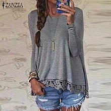 752a37d5b31c2 ZANZEA ZANZEA Oversized Fall Women Muslim Blouses Fashion Long Sleeve  O-Neck Casual Tops Lace Crochet Cotton Shirts(Gray)